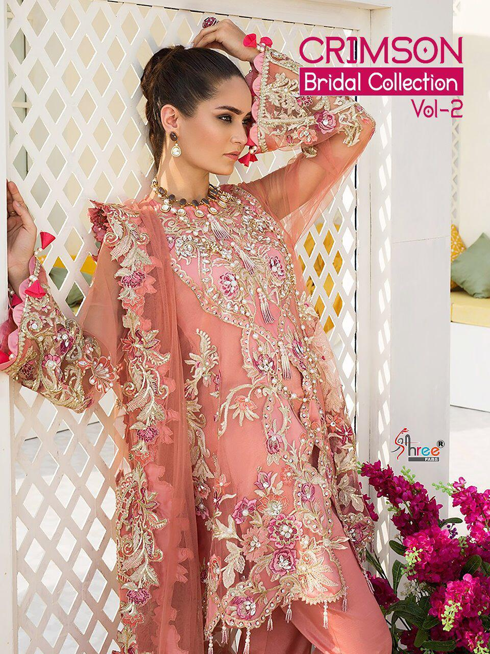 Shree Fab Crimson Bridal Collection Vol 2 Designer Heavy Embroidered Suits Wholesale