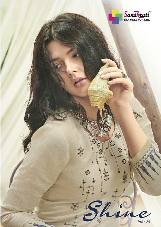Sanskruti Silk Mills Shine 4 Designer Embroidered With Jam Silk Suits Wholesale
