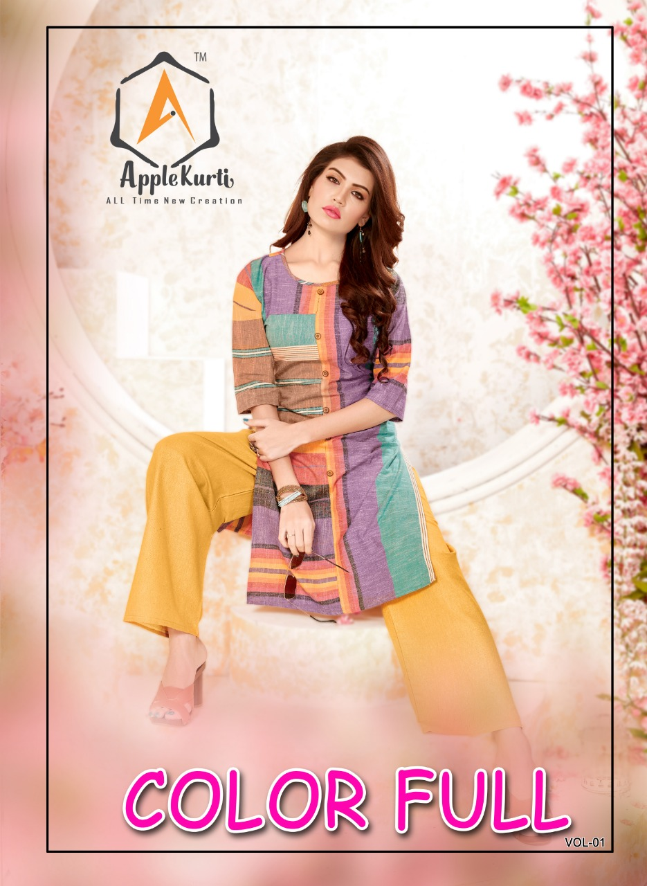 Apple  Color Full Vol 1 Designer Cotton Stitch Kurties In Wholesale Rate