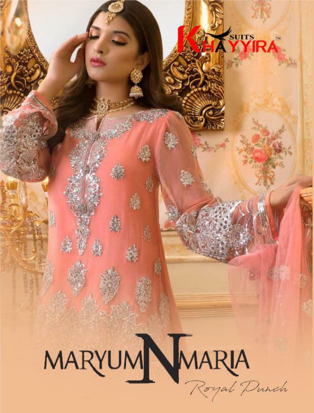 Khayyira Maryam N Maria Designer Heavy Embroidered Suits Wholesale