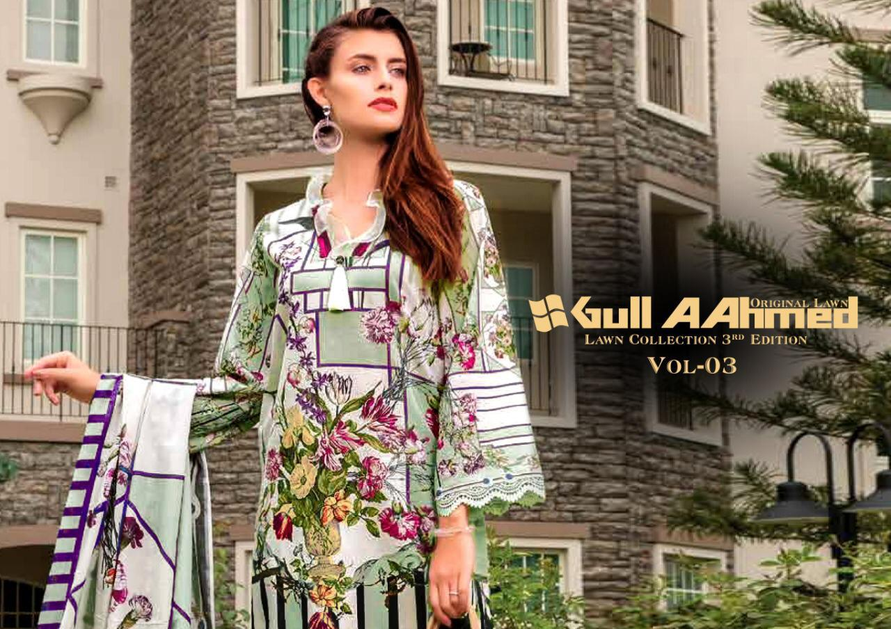 Gulahmed Vol 3 Designer Pure Lawn Collection With Mal Mal Dupatta Wholesale