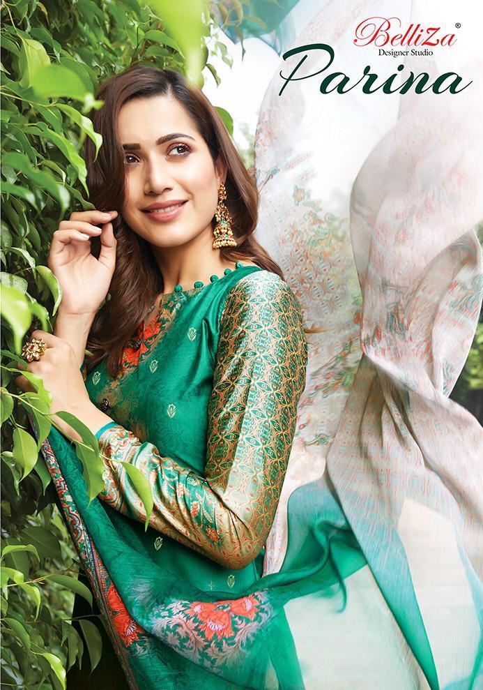 Belliza Designer Studio Parina Designer Banarasi Jacquard Suits In Wholesale Rate