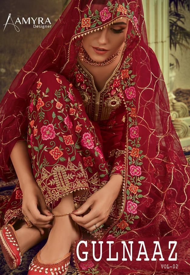 Amyra Gulnaaz Vol 2 Designer Exclusive Embroidered & Georgette Suits Wholesale