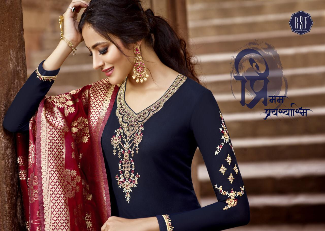 Rsf Nargis Vol 5 Designer Banarasi Jacquard Dupatta Suits Wholesale
