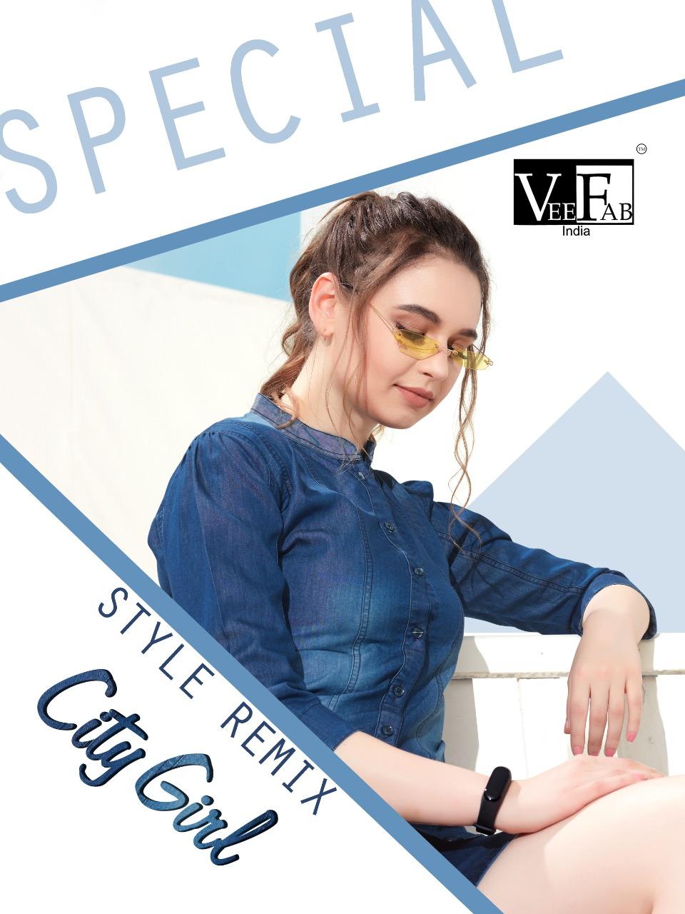 Vee Fab India City Girl Designer Western Denim Tops In Wholesale Rate
