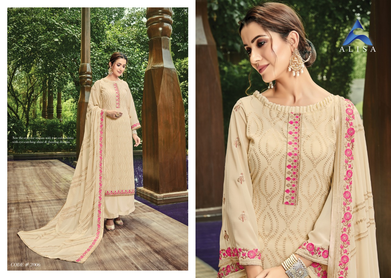 Alisa Flora Designer Additional Work With Georgette Suits Wholesale