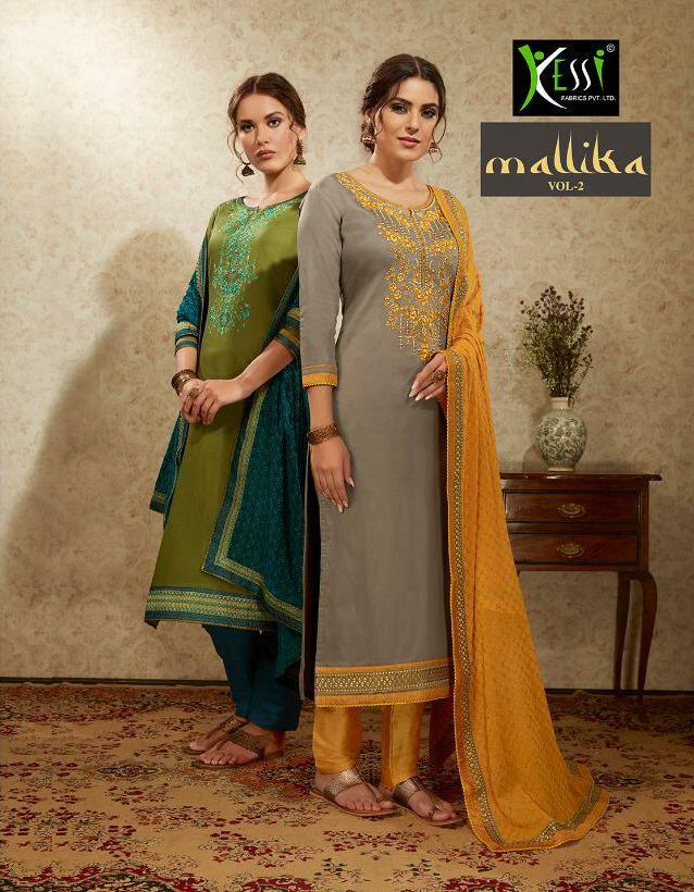 Kessi Mallika Vol 2 Designer Embroidery Work With Jam Satin Suits Wholesale