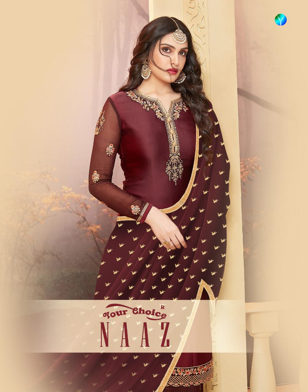 Your Choice Naaz Designer Satin Georgette Suits In Wholesale Rate