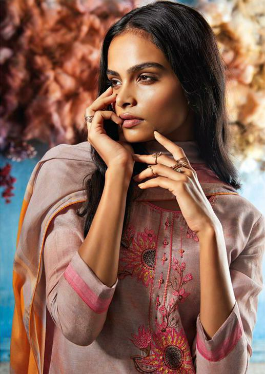 Ganga Roisin Designer Embroidered Hand Work & Bemberg Silk Printed Suits Wholesale