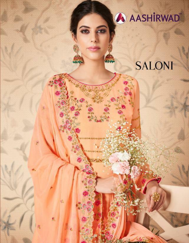Aashirwad Saloni Designer Real Georgette Partywear Suits In Wholesale Rate