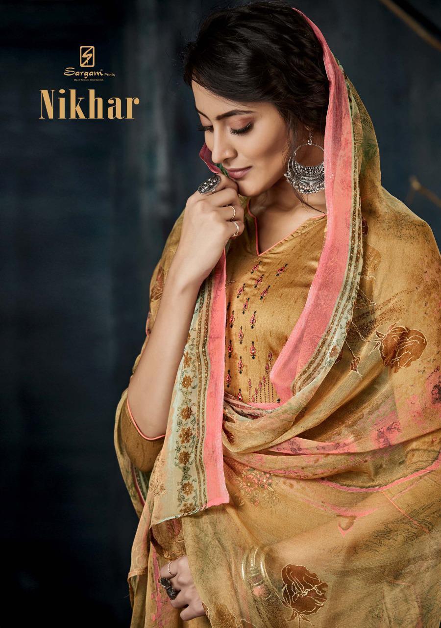Sargam Prints Nikhar Designer Embroidery Work With Jam Printed Suits Wholesale