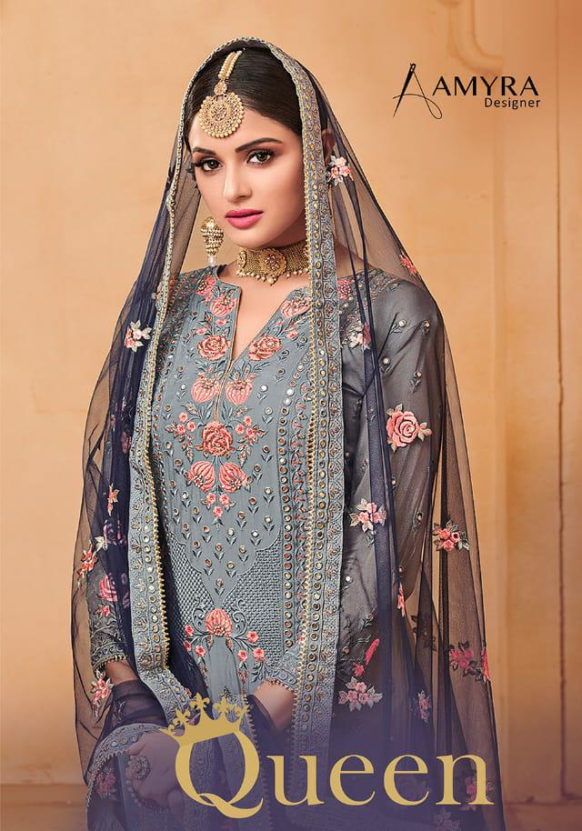 Amyra Queen Designer Heavy Exclusive Embroidery & Georgette Suits Wholesale