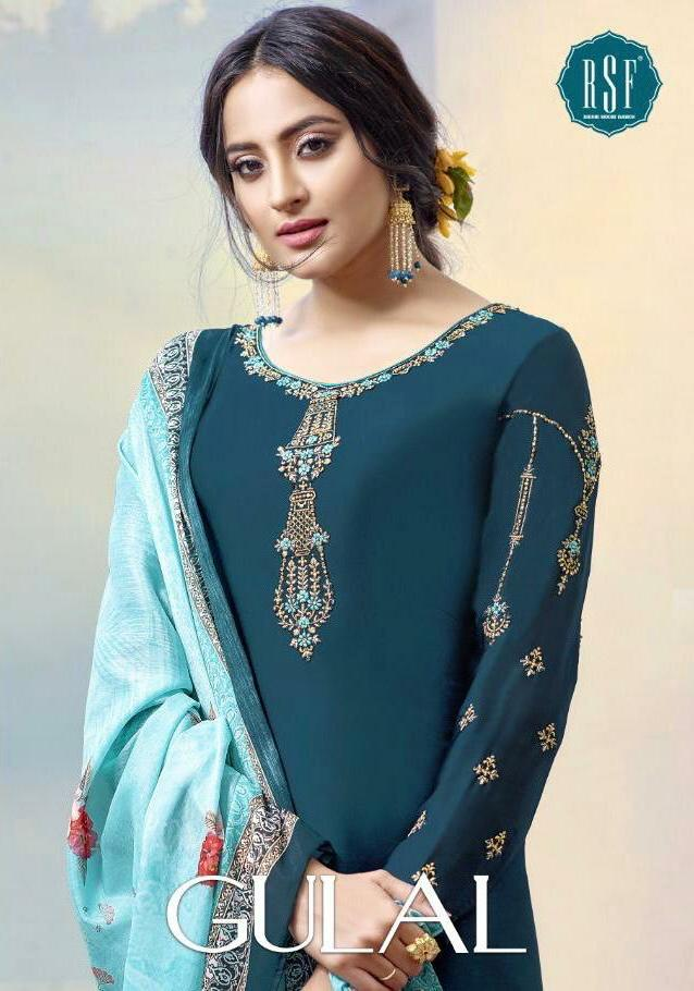 Rsf Gulal Designer Hand Work Satin Georgette Long Suits In Wholesale Rate