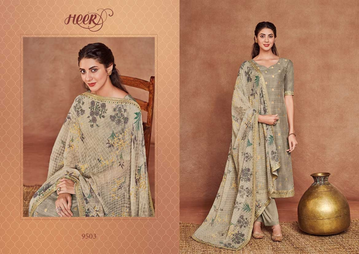 Kimora Heer 52 Designer Embroidered Border With Dolla Silk Jacquard Suits Wholesale