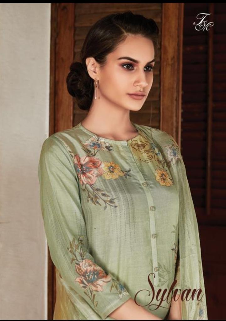 T & M Sylvan Designer Hand Work Cotton Silk Printed Suits In Wholesale Rate