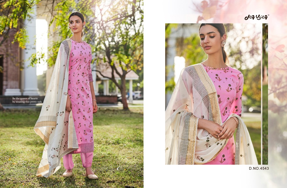 Jay Vijay Enhance Designer Cotton Block Gold Printed Suits In Wholesale Rate