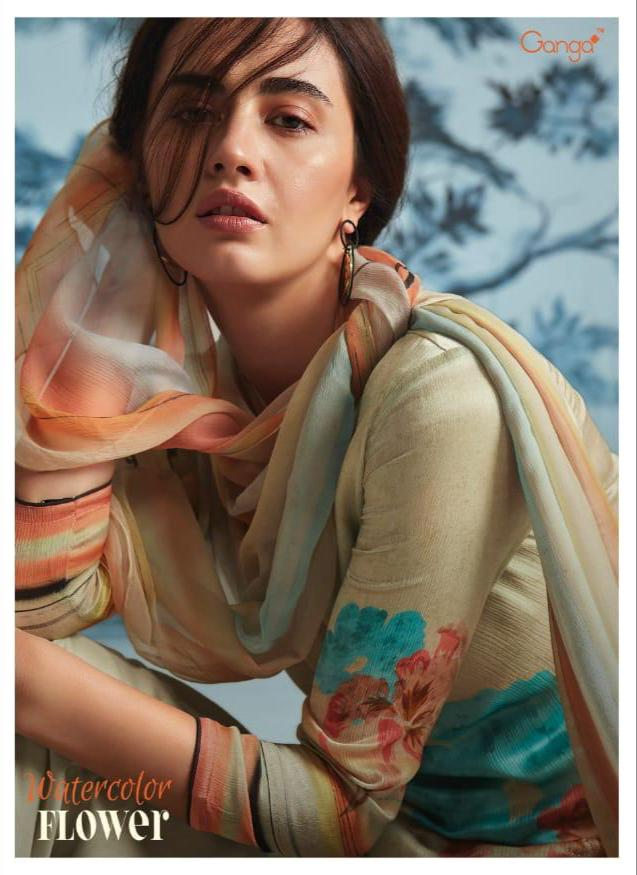 Ganga Water Colour Flower Designer Silk Printed Suits In Wholesale Rate