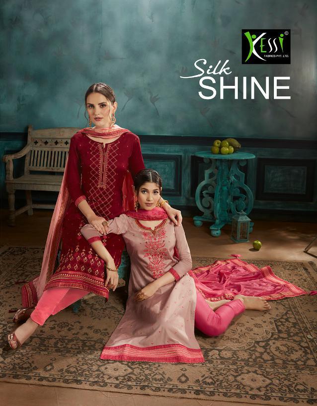 Kessi Silk Shine Jam Satin Embroidered Suits Wholesale