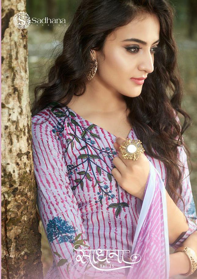 Sadhana Fashion Vol 25 Designer Fancy Work & Pure Cotton Suits Wholesale