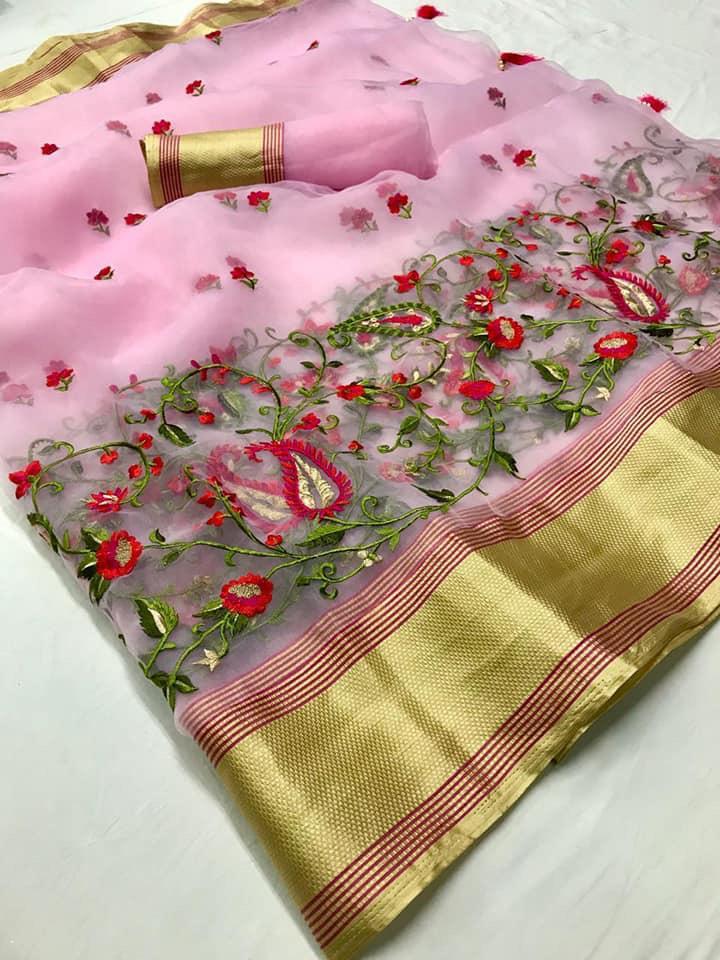 Lt Navya Designer Embroidery Work Organza Silk Saree Wholesale