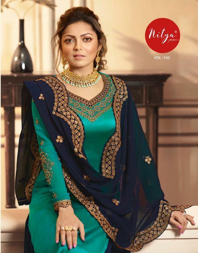 Lt Nitya 142 Designer Satin Georgette Party Wear Suits Wholesale