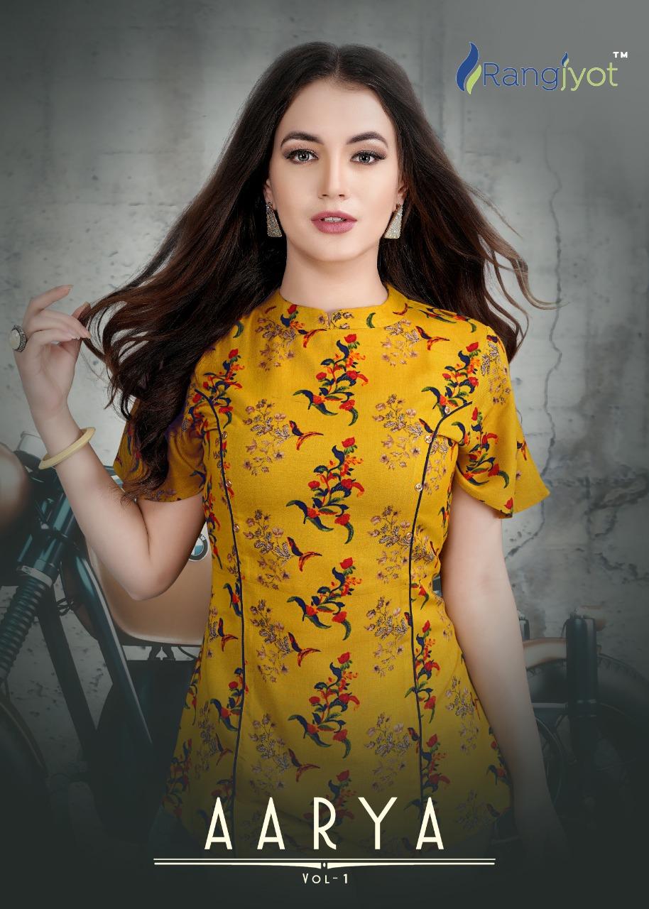 Rangjyot Aarya Vol 1 Designer Rayon Exclusive Printed Tops Wholesale