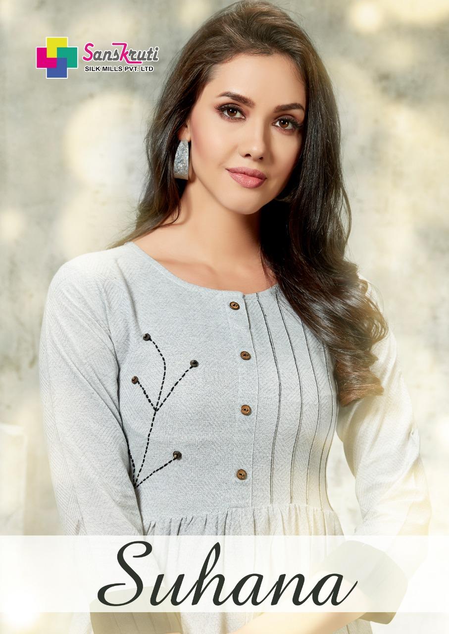 Sanskruti Silk Mills Suhana Designer Pure Cotton Stylish Kurties Wholesale