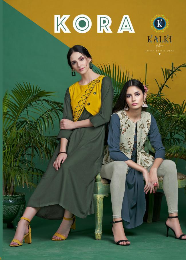 Kalki Fashion Kora Designer Rayon Stitch Kurties Wholesale