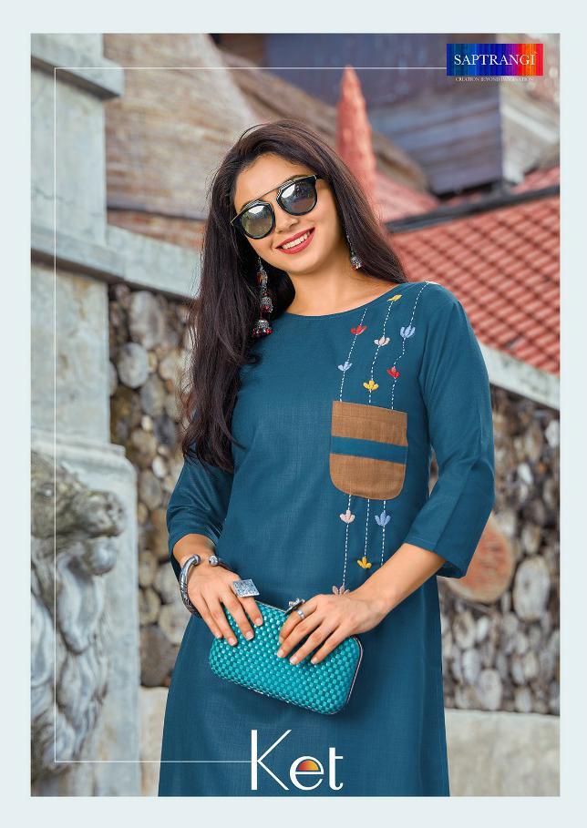 Saptrangi Ket Designer Cotton Office Wear & Daily Wear Kurties Wholesale