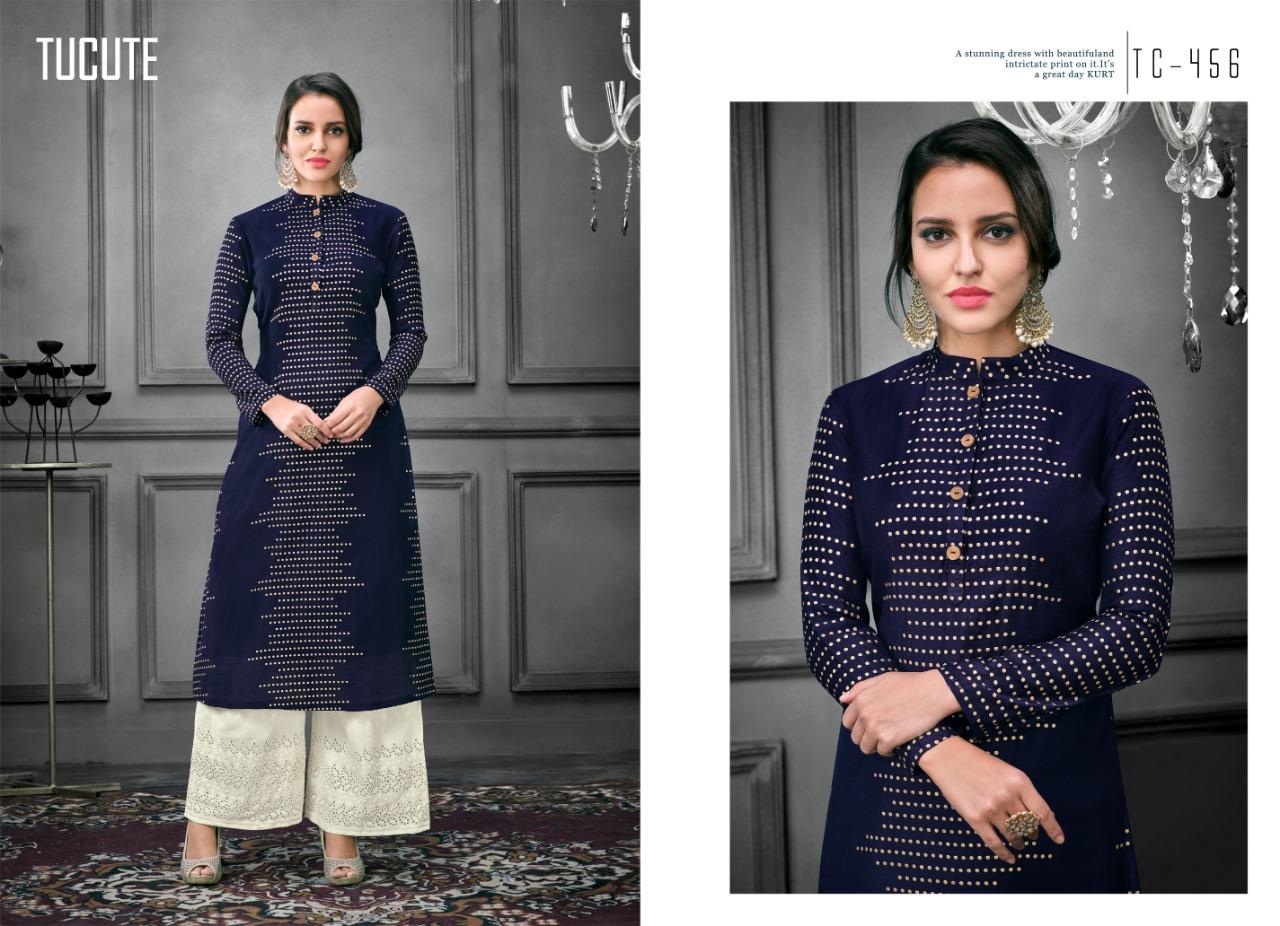 Karma Trendz Tucute 456 Series Designer Silk Printed Partywear Kurties Wholesale