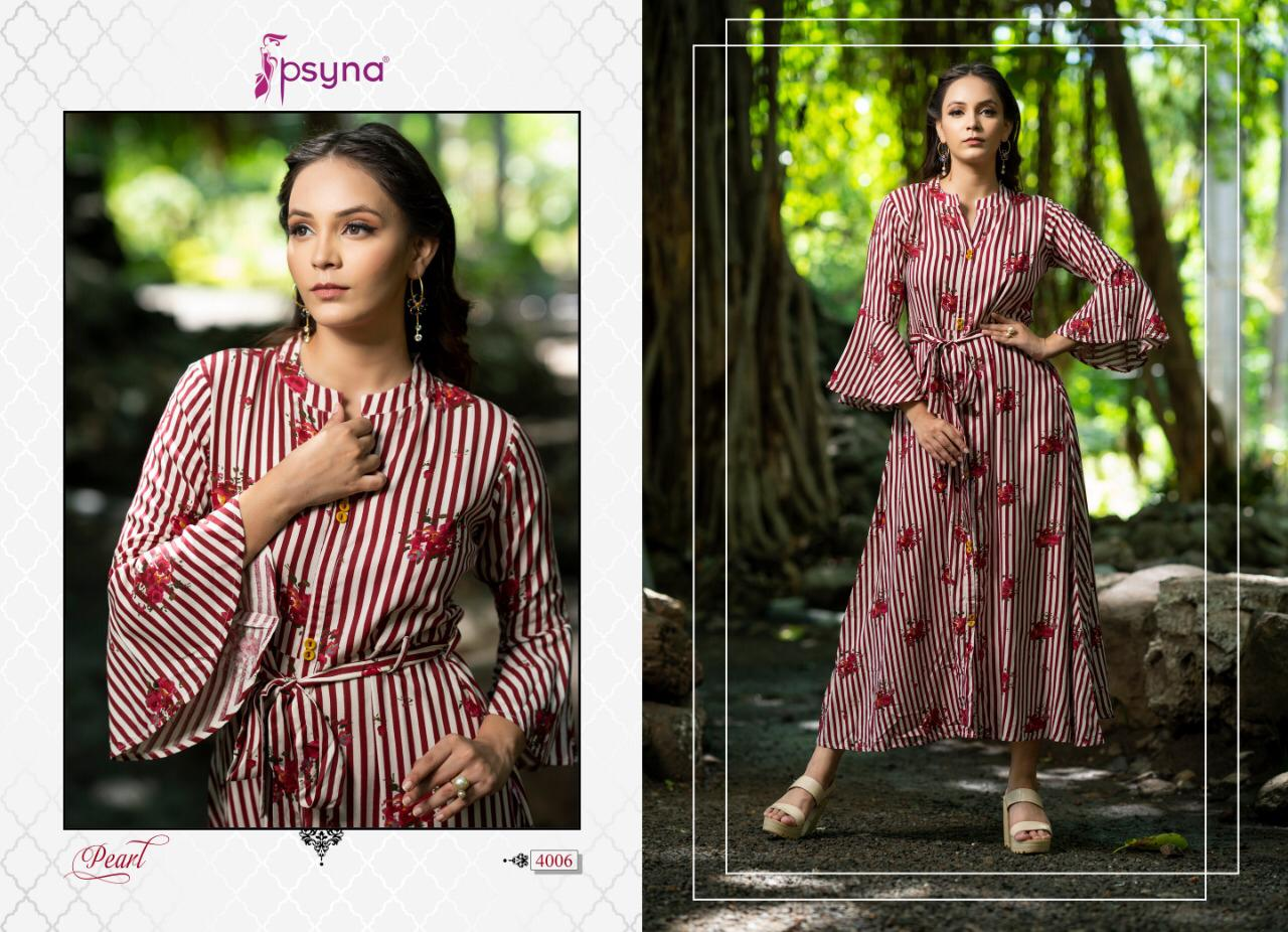Psyna Pearl Vol 4 Designer Rayon Printed Long Gowns Wholesale