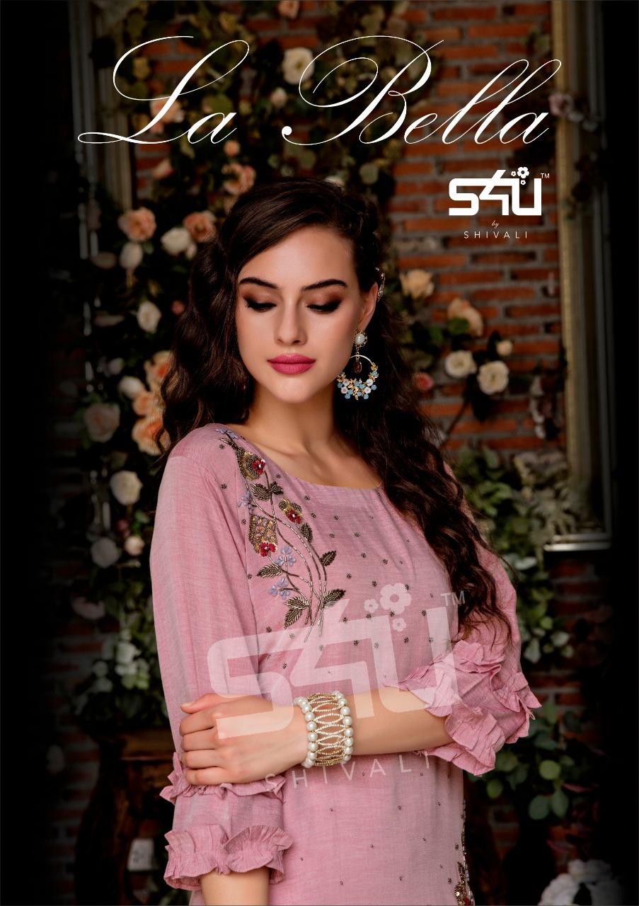 S4u La Bella Designer Muslin And Dola Silk Partywear Kurties In Wholesale Rate