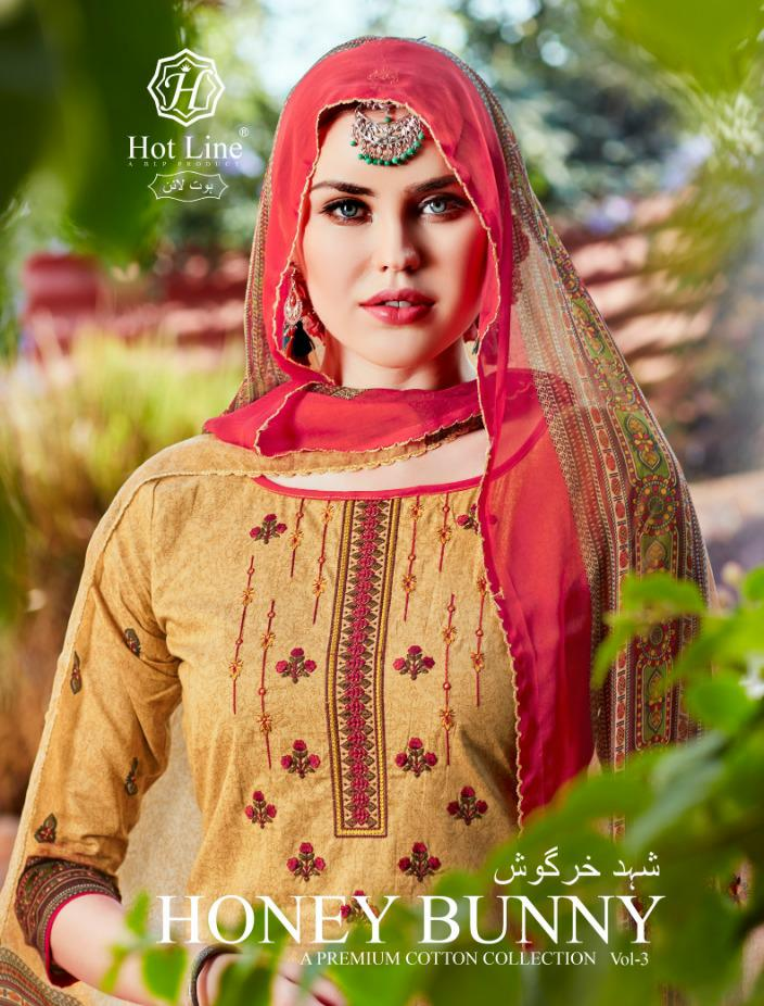 Hot Line Honey Bunny Vol 3 Designer Fancy Embroidery Work With Digital Printed Suits Wholesale