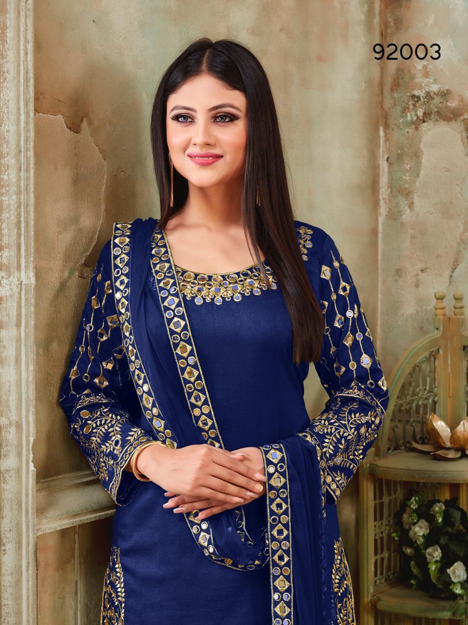 Aanaya 92000 Series Designer Art Silk Patiyala Suits Wholesale