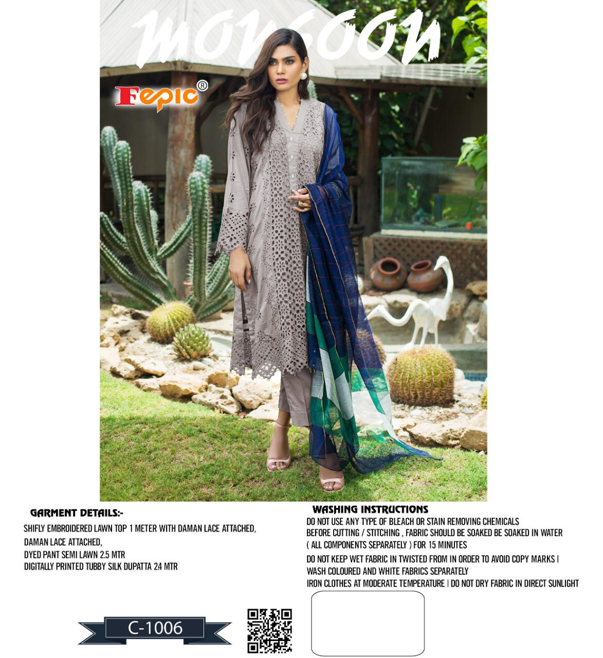 Fepic Rosemeen Monsoon Designer Cotton Embroidered Suits Wholesale