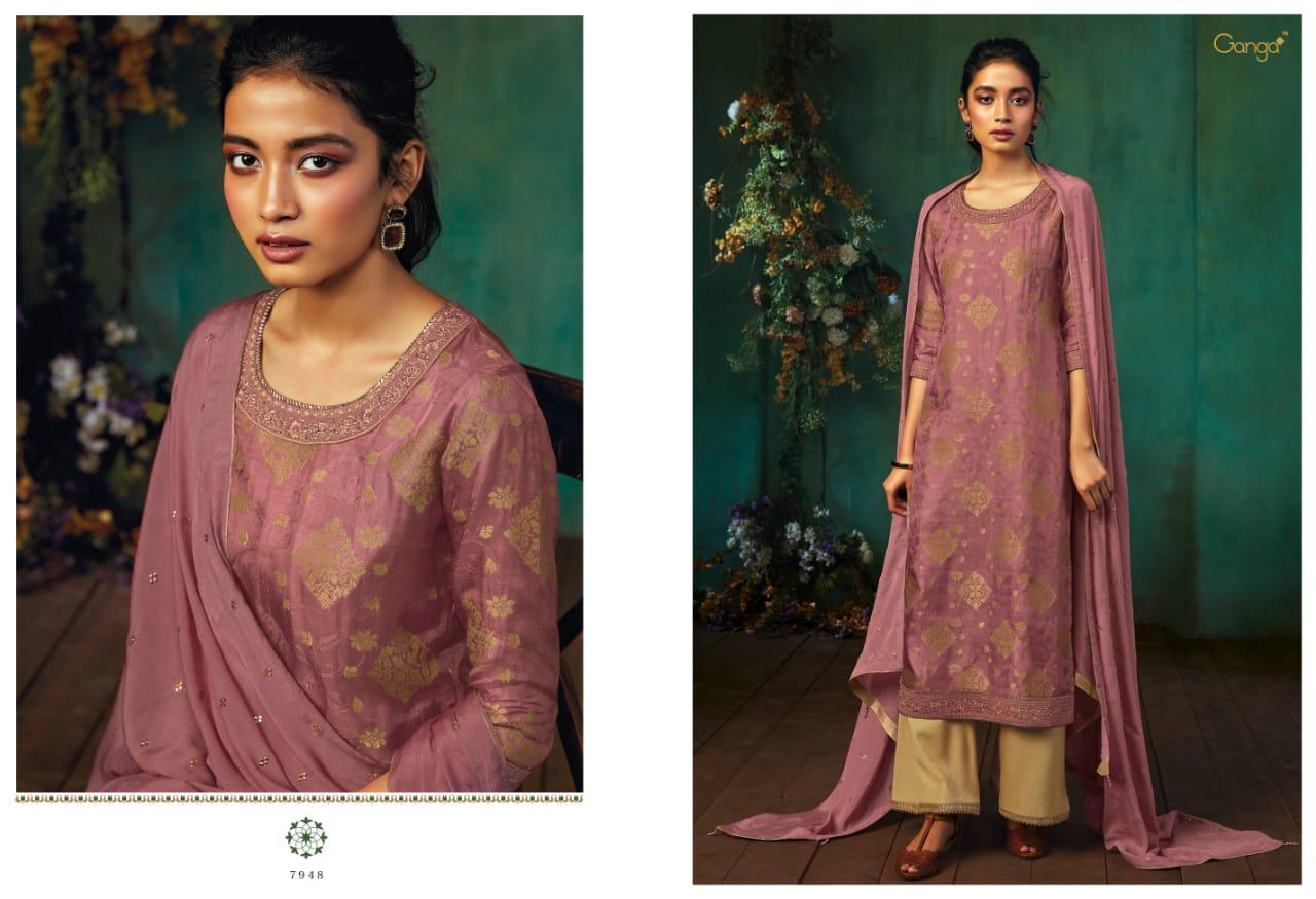 Ganga Annika Designer Embroidered Silk Jacquard Suits Wholesale