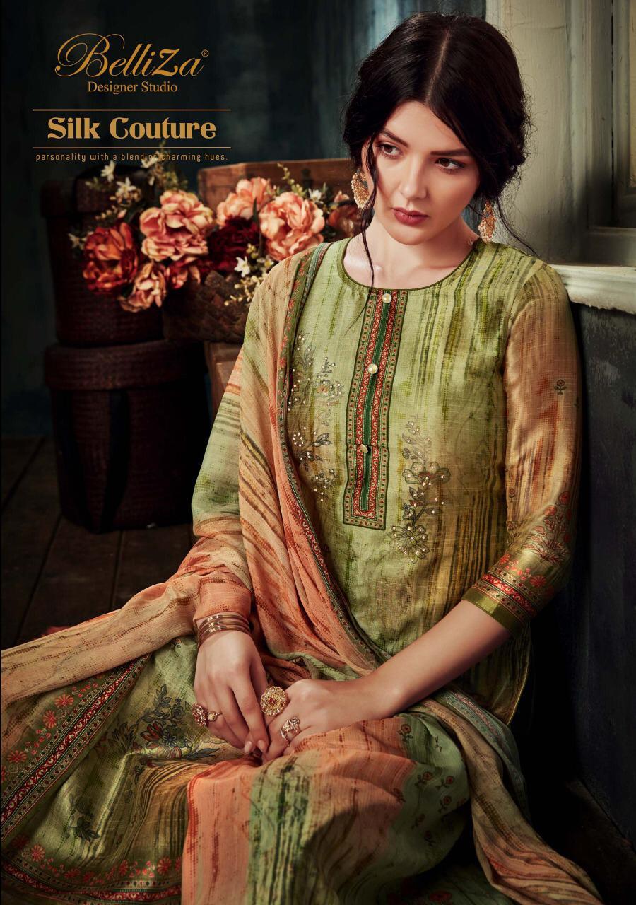 Belliza Silk Couture Designer Fancy Hand Work Silk Printed Suits Wholesale