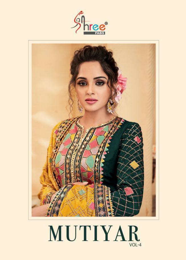 Shree Fab Mutiyar Vol 4 Designer Heavy Embroidered Silk Suits Wholesale