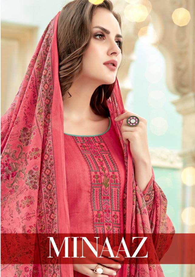 Levisha Minaaz Designer Satin Cotton Printed With Self Embroidered Suits Wholesale