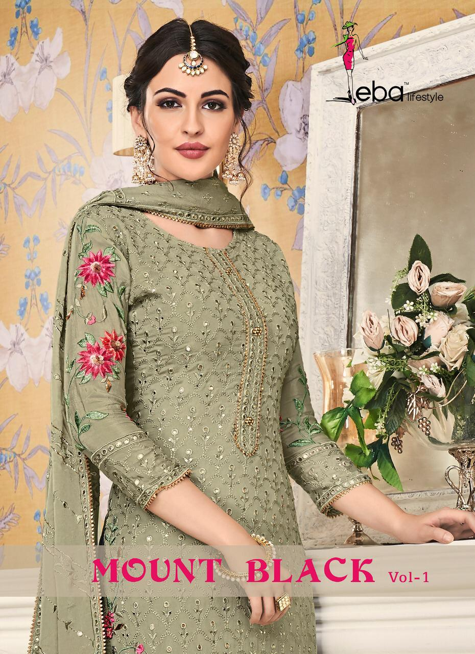 Eba Lifestyle Mount Black Vol 1 Designer Heavy Embroidered Partywear Suits In Wholesale Rate