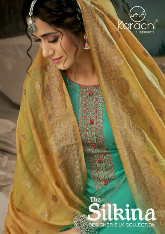 Karachi Silkina Designer Elegant Embroidery & Handwork Muslin Suits Wholesale