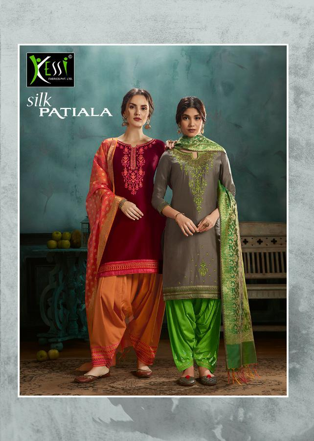 Kessi Silk Patiala Designer Jam Silk Embroidered Patiyala Suits Wholesale