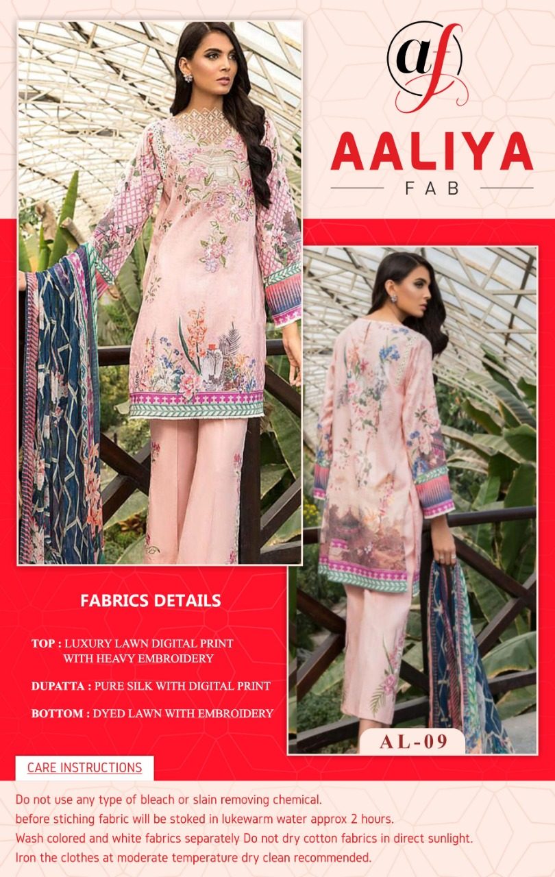 Aaliya Fab Luxury Lawn Embroidered Collection Designer Embroidered Lawn Digital Printed Suits Wholesale