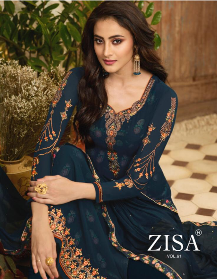 Zisa Vol 61 Designer Georgette With Embroidered Suits Wholesale