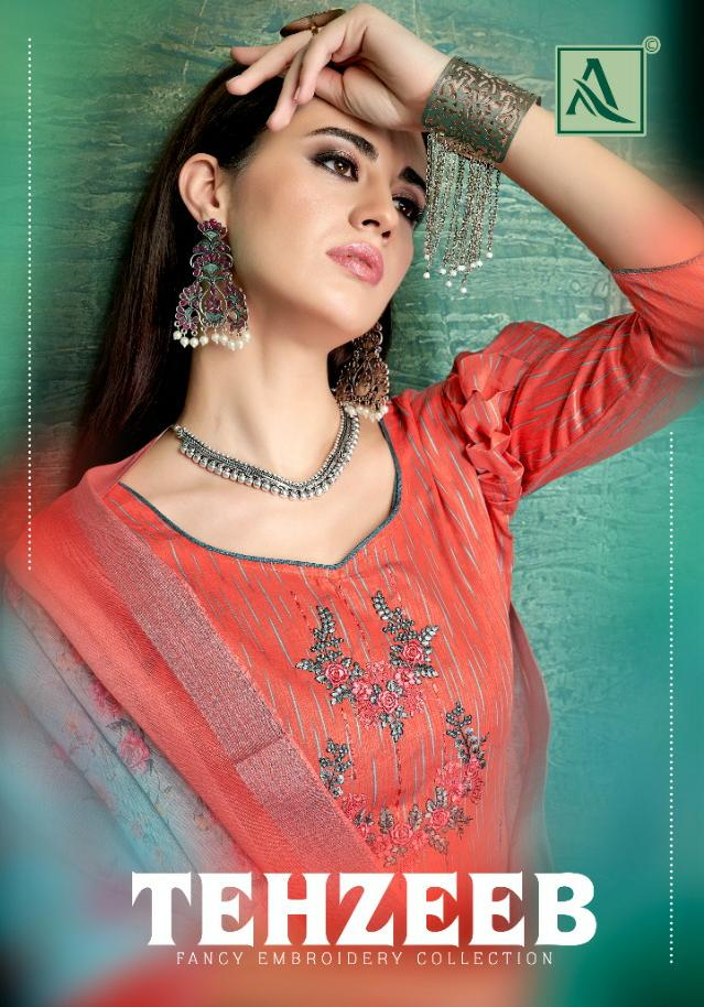 Alok Suit Tehzeeb Designer Fancy Embroidery With Jam Silk Self Printed Suits Wholesale