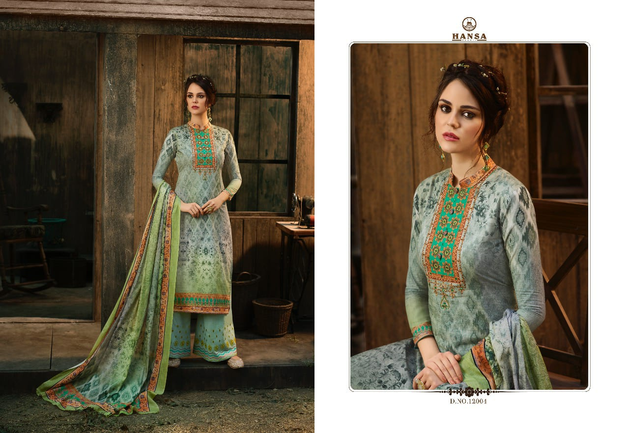 Hansa Hidaya Vol 12 Designer Cotton Printed Embroidered Suits Wholesale