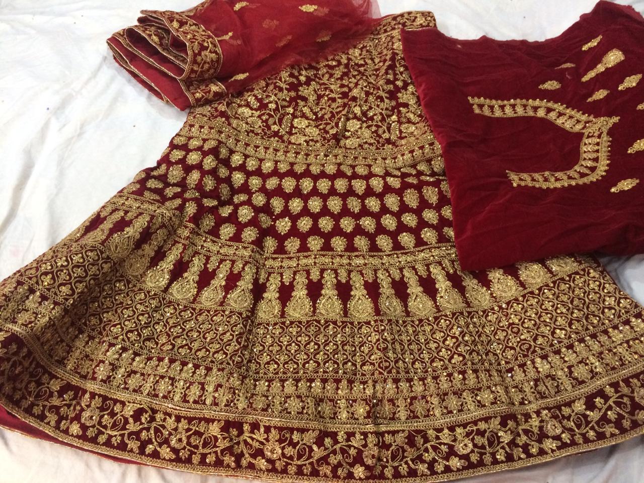 Designer Velvet With Heavy Embrodery Work Wedding Wear Lehenga Choli Wholesale
