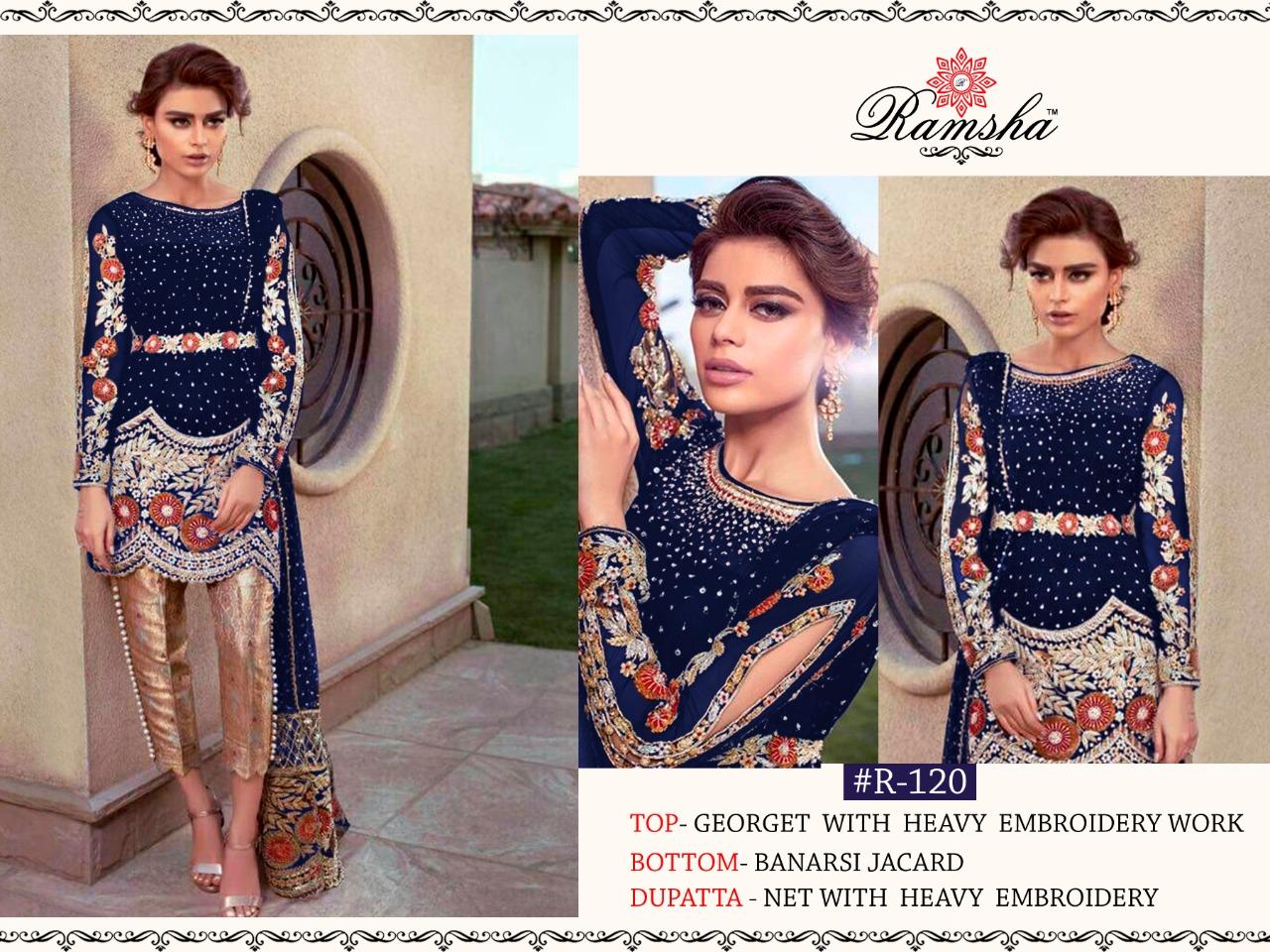 Ramsha R-120 Colour Nx Designer Georgette Embroidered Partywear Suits Wholesale