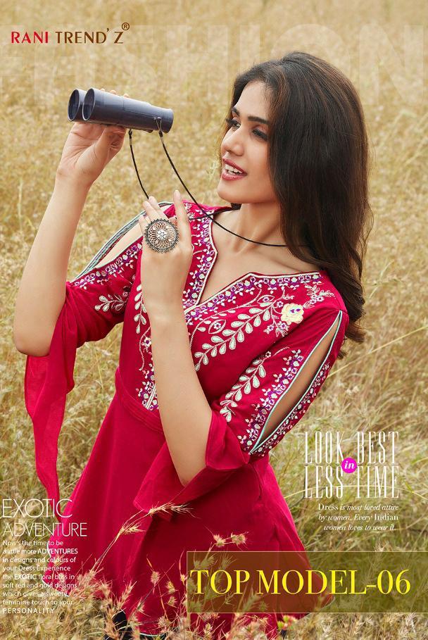 Rani Trendz Top Model Vol 6 Designer Faux Georgette Stitched Tops Wholesale