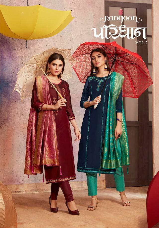 Kessi Rangoon Paridhan Vol 2 Designer Fancy Silk With Embroidery Work Kurtis In Wholesale Rate